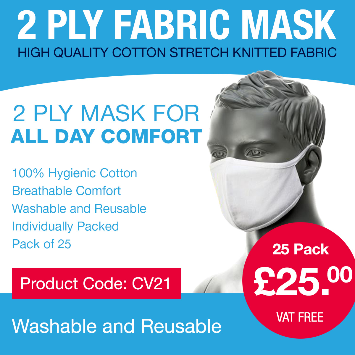 2-Ply Fabric Face Mask from Portwest
