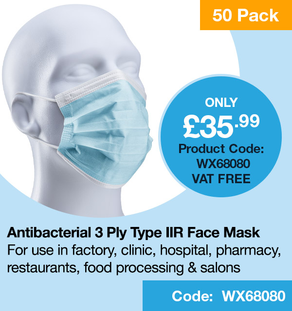 Disposable Medical Masks 3ply Type IIR Pack 50