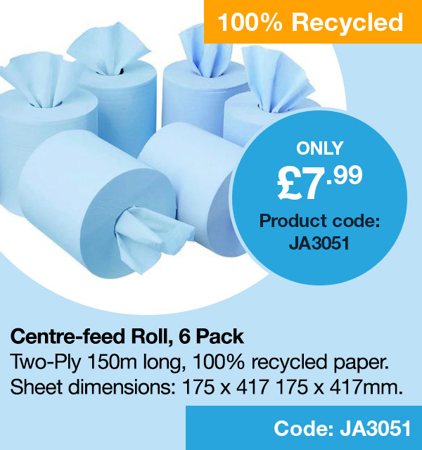 Centre-feed Roll 150m Blue Two-Ply Pack 6