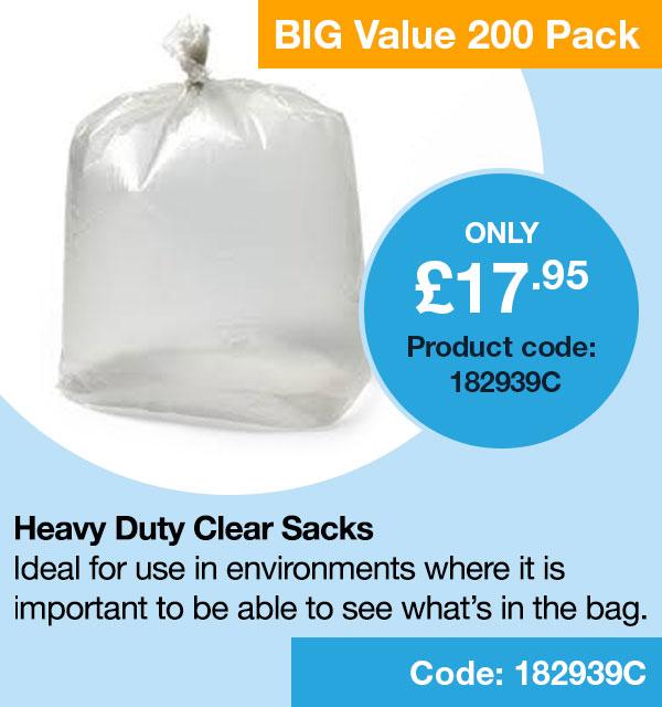 Heavy Duty Clear Sacks pack of 200
