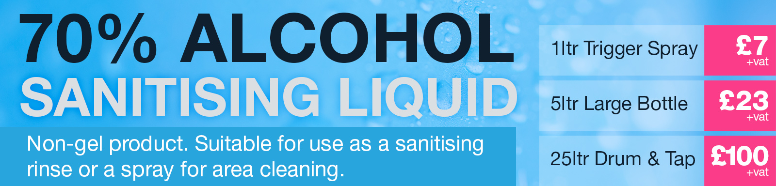 Sanitising liquid suitable for spraying