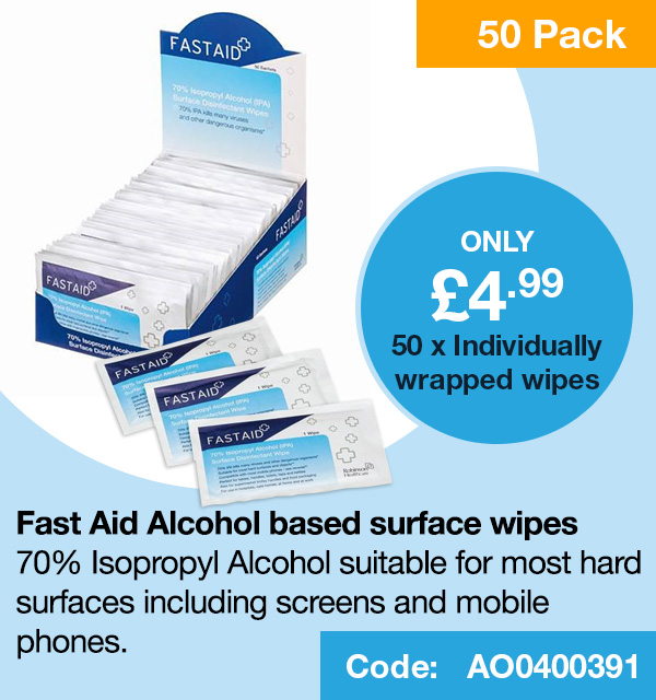 Fast Aid Alcohol based surface wipes 50 pack